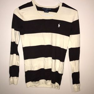 Polo brown and white striped sweater